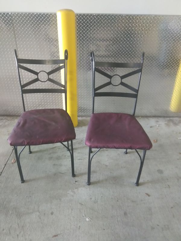 Two Rought rot metal iron chairs sturdy strong DIY project