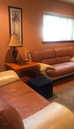 Real leather sofa and loveseat with delivery for Sale in CARPENTERSVLE, IL