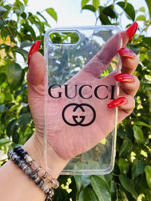 Brand new cool iphone 7+ or 8+ PLUS case cover rubber Clear transparent see through girls guys mens womens skate skateboard swag brands hype hypebeas for Sale in San Bernardino, CA