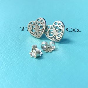 Authentic & RARE RETIRED authentic Tiffany and co. 925 sterling silver enchant filigree heart earrings for Sale in Hacienda Heights, CA