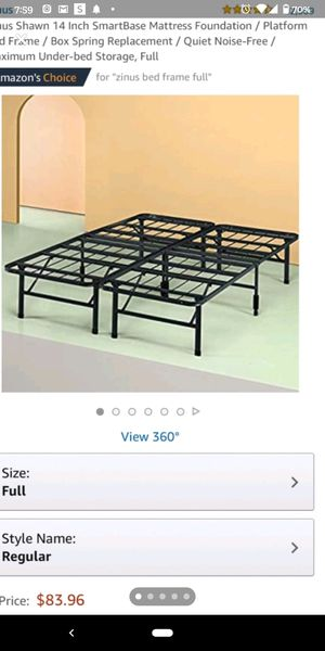 Classic Metal Platform Bed Frame with Steel Slat Support / Mattress Foundation, Full for Sale in Queens, NY