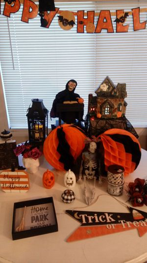 Lots of vintage and new halloween decorations lighted lantern, haunted house with color changing lights, for Sale in Grand Terrace, CA