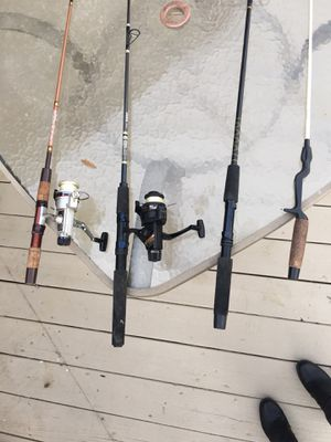 4 FISHING RODS SOLD AS A PACKAGE ONLY for Sale in Lockport, IL