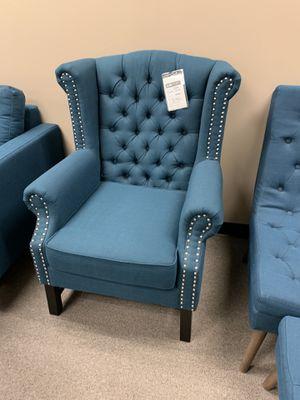 Azure blue chair $225 each ottoman $125 each for Sale in Rockville, MD