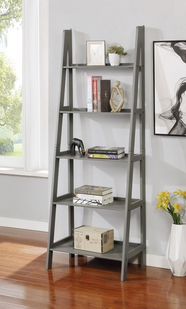 Brand New Grey Wood 5 Tier Ladder Shelf (New in Box)