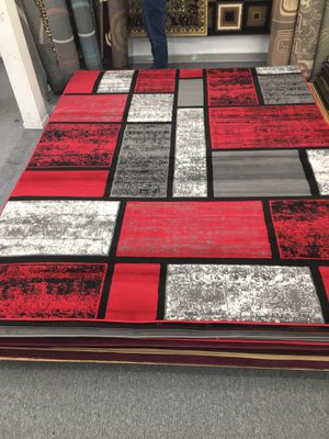 Red and gray color area rug brand new big size for Sale in Salem, OR