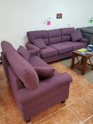 """[F6704] 2-PCS SOFA SET 60"""""""" AND 80"""""""" PURPLE POLYFIBER [ONLY $50 DOWN AND 90 DAYS TO PAY SAME AS CASH] for Sale in Irving, TX"""