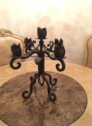 Black solid iron candelabra for Sale in Boca Raton, FL