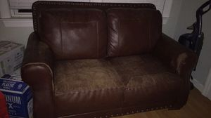 Worn leather couch for Sale in Arlington, VA