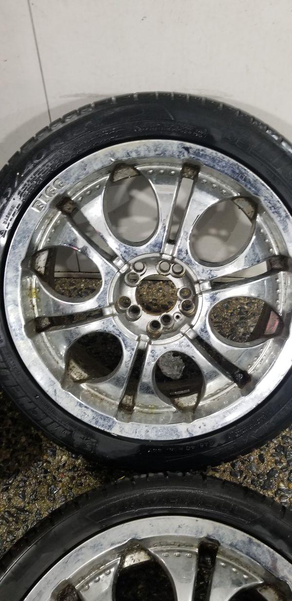 4 18in 5x100 5x114.3 BIGG brand chrome wheels rims tires 5x100 5x114.3