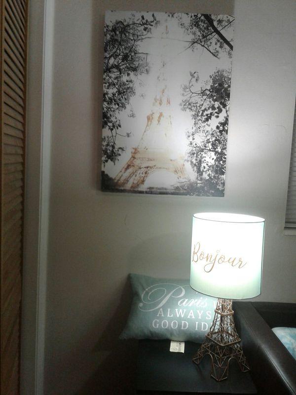 Paris Canvas, Lamp, Pillow Decor