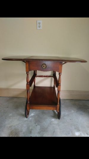 Rustic and traditional antique drop leaf table cart for Sale in Katy, TX