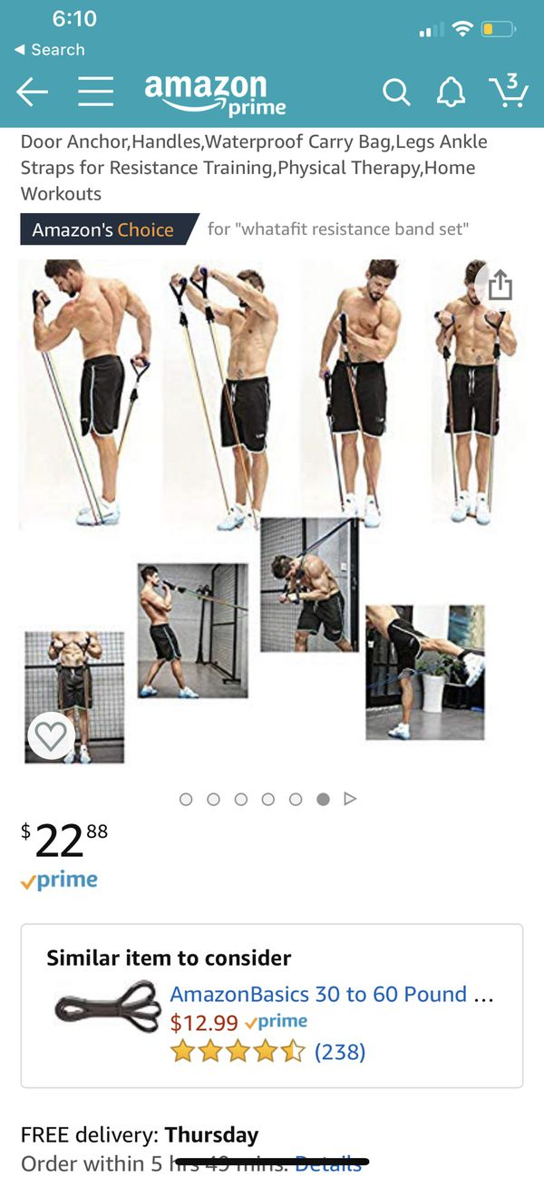 Resistance Bands Set (11pcs),Exercise Band with Door Anchor, Handles Waterproof Carry Bag Legs Ankle