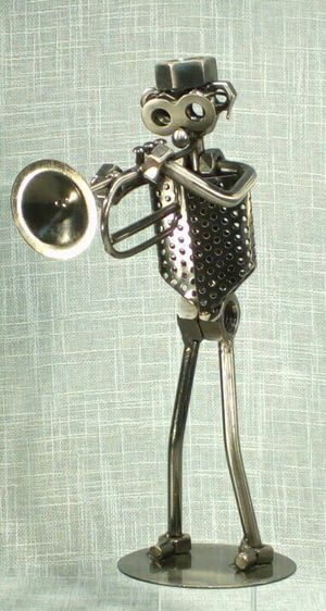 "Bolts Metal Trumpet Musician Figurine10""x7""x3"" *PICKUP ONLY* home decor, man cave, music, instrument for Sale in Mesa, AZ"