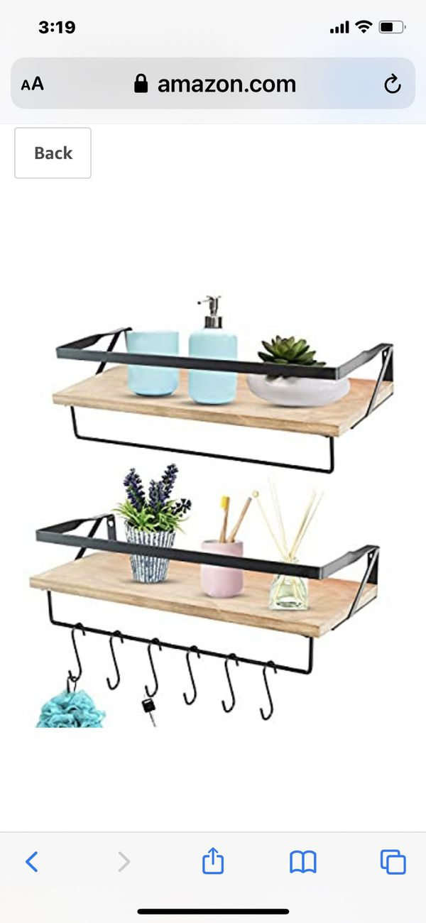 JS HANGER Floating Shelves Wall Mounted with 2 Tower Bars - Extra Wide Rustic Wood Shelves Storage Wall Shelves for Kitchen, Bathroom, Living Room an