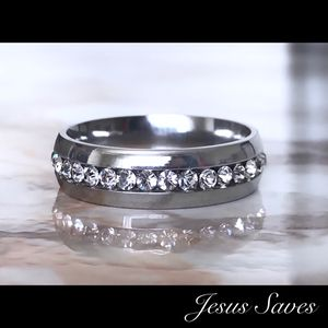 6mm Stainless Steel Single Row CZ Ring Sizes In Description for Sale in Fresno, CA