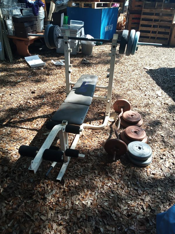 Weight bench with curl bar and weights