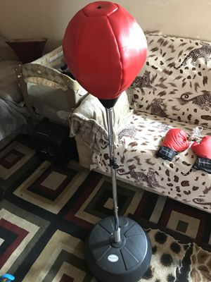 Speed bag w/ training gloves & wood grip jump rope. Negotiable open to hear out trades $30 worths for Sale in Chula Vista, CA