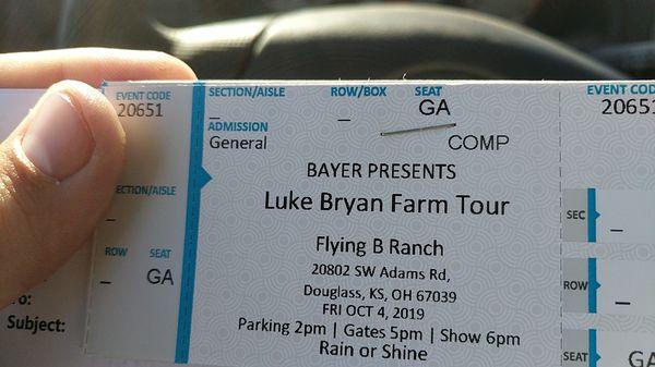Luke Bryan Tickets Douglas ks