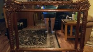 Antique hand crafted solid wood framed mirror for Sale in Raleigh, NC