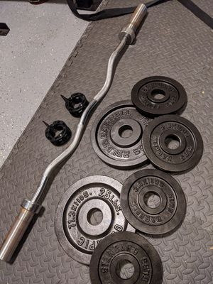 Olmpyic curl bar + weight plates for Sale in Evanston, IL