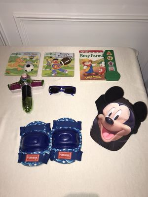 Used, Books, Mickey hat, Disney sunglasses, knee pads, buzz light year flashlight for Sale for sale  Montville, NJ