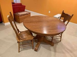 Solid Oak Table with Two Chairs for Sale in Sterling, VA