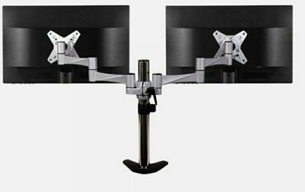 3 ways articulating dual monitor desk mount