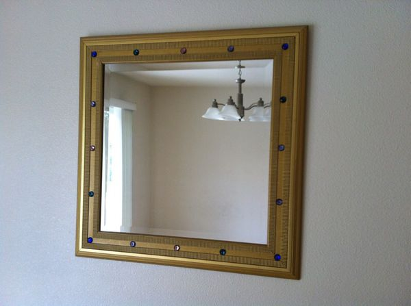 Gold Square Mirror Wall Art with Color Crystals