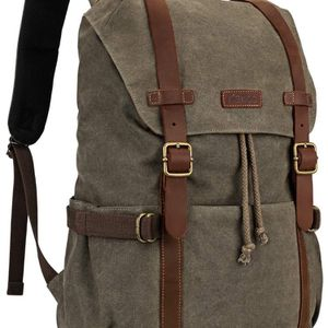 Kattee Canvas Leather Backpack Hiking Backpack Travel Rucksack School Bag for Sale in Las Vegas, NV