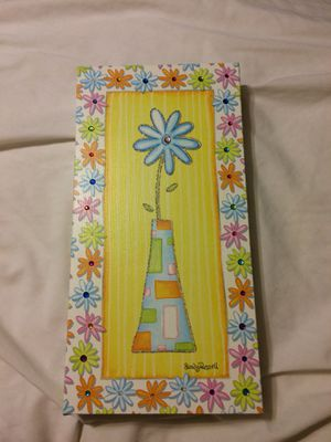 SANDY RUSSELL FLOWER IN VASE CANVAS ART POTTERY BARN BLUE YELLOW ORANGE PINK GREEN WHITE GLITTER FAUX JEWELS for Sale in O'Fallon, MO