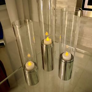 Glass & Metal Table Top Candle Holder Set for Sale in Fort Lauderdale, FL