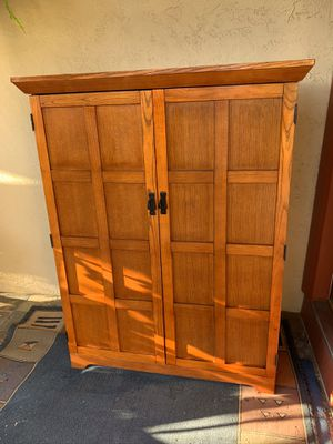 Corner Computer Armoire solid wood -Cherry color for Sale in San Jose, CA