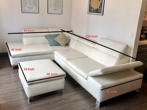 High quality leather sofa and pouf for sale for Sale in Chicago, IL