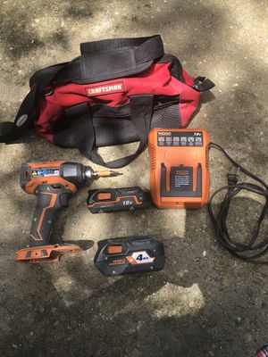 RIDGID 18-Volt Lithium-Ion Cordless With LED light two batteries charger And a craftsman bag for Sale in Apex, NC