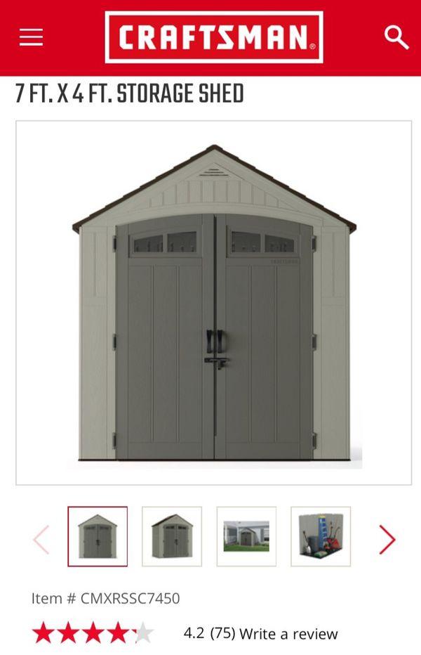 Craftsman 7 X 4 ft Resin shed, pending sale!