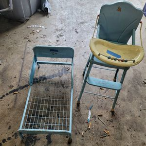Vintage Amazon High Chair And Doll Bed for Sale in Vancouver, WA