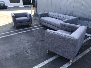 3-pc living room set | Grey nailhead tufted modern chic couch sofa and chair set home furniture for Sale in Rosemead, CA