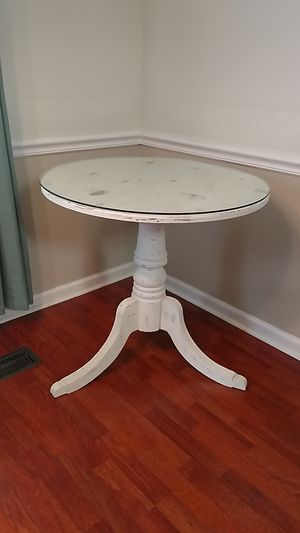 Distressed Wood Table 30 inch top with glass for Sale in Murfreesboro, TN