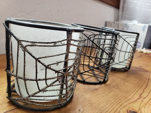 Candle holders spider webs Halloween spooky decor home decor horror for Sale in Torrance, CA