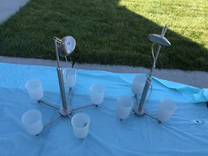 2 Perfect condition brushed nickel chandeliers/ light fixture for Sale in Ballwin, MO