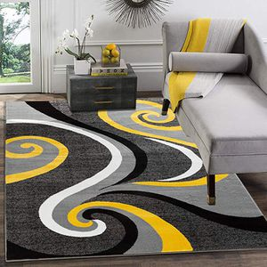 New modern style rug size 8x10 nice Gray and yellow carpet for Sale in Burke, VA