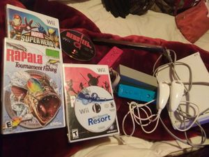 Wii with controllers games joysticks connections and sensor bar for Sale in Abilene, TX