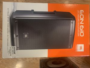 PAIR of New JBL EON 610 studio/ stage speakers ($485 list each) and 3-6' adjustable heavy duty collapsing tripods ($160 ea new). All for $600 OBO. for Sale in Durham, NC