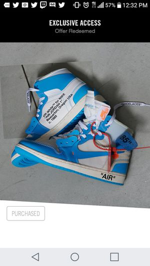 Jordan 1 UNC Off White Size 11 1200.Ds W/receipt for Sale in Baltimore, MD