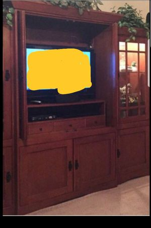 3 piece entertainment center with lights and lots of storage and shelves very heavy solid oak wood for Sale in Galena Park, TX