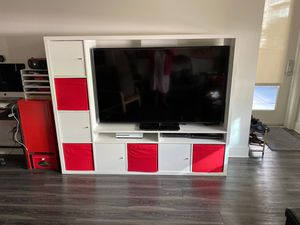 IKEA TV entertainment cabinet with eight storage compartments and two shelves like new for Sale in Glendale, CA