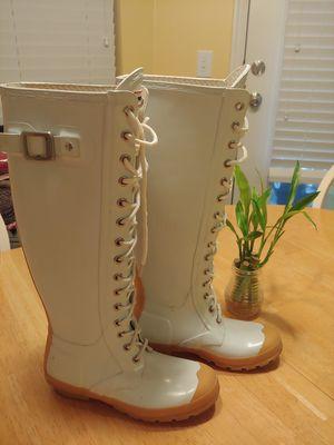 Baby blue tie up HUNTER rain boots size 4 men size 5 f for Sale in South Jordan, UT