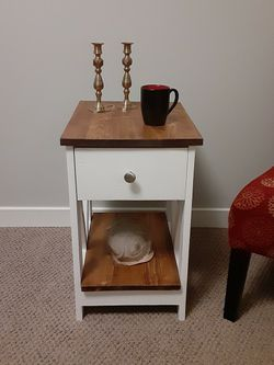 Farmhouse style End Table, With Bottom shelf And Metal Glide Drawer . Created by Lyle Wood Design. for Sale in Ellensburg,  WA