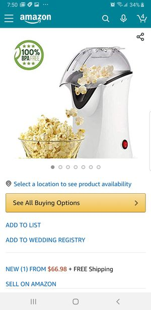 Luckdeal Popcorn Maker, Popcorn Machine, 1200W Hot Air Popcorn Popper Healthy Machine No Oil Needed (White for Sale in Bakersfield, CA